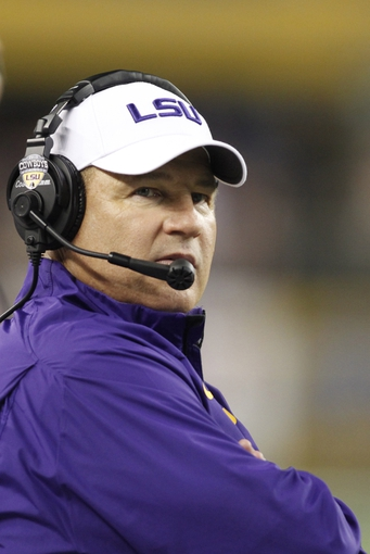 Aug 31, 2013; Arlington, TX, USA; LSU Tigers head coach Les Miles on the sideline during the fourth quarter of the game against the TCU Horned Frogs at Cowboys Stadium. LSU Tigers beat TCU Horned Frogs 37-27. Mandatory Credit: Tim Heitman-USA TODAY Sports