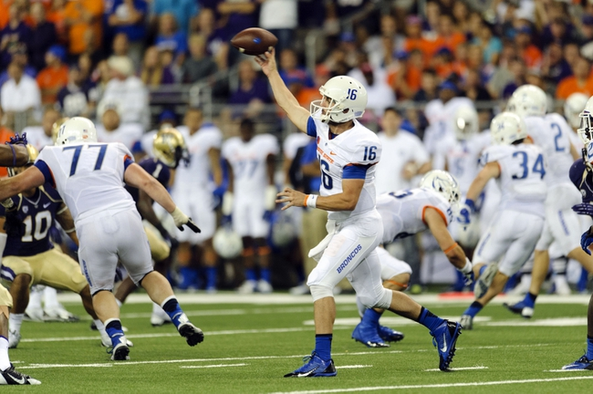 Aug 31, 2013; Seattle, WA, USA; Boise State Broncos quarterback Joe Southwick (16) passes the ball against the Washington Huskies during the 2nd half at Husky Stadium. Washington defeated Boise State 38-6. Mandatory Credit: Steven Bisig-USA TODAY Sports