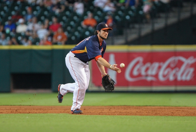 Sep 1, 2013; Houston, TX, USA; Houston Astros first baseman Brett Wallace (29) tosses the ball during the fifth inning against the Seattle Mariners at Minute Maid Park. Mandatory Credit: Troy Taormina-USA TODAY Sports