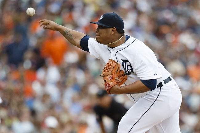 Sep 1, 2013; Detroit, MI, USA; Detroit Tigers relief pitcher Bruce Rondon (43) pitches in the ninth inning against the Cleveland Indians at Comerica Park. Cleveland won 4-0. Mandatory Credit: Rick Osentoski-USA TODAY Sports