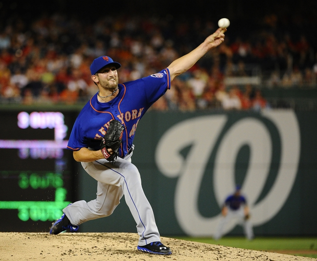 Sep 1, 2013; Washington, DC, USA; New York Mets starting pitcher Jon Niese (49) throws during the second inning against the Washington Nationals at Nationals Park. Mandatory Credit: Brad Mills-USA TODAY Sports