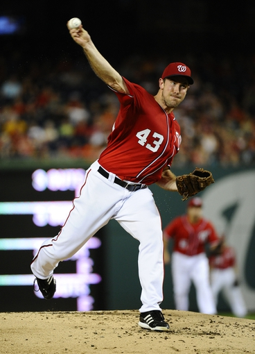 Sep 1, 2013; Washington, DC, USA; Washington Nationals starting pitcher Ross Ohlendorf (43) throws during the second inning against the New York Mets at Nationals Park. Mandatory Credit: Brad Mills-USA TODAY Sports