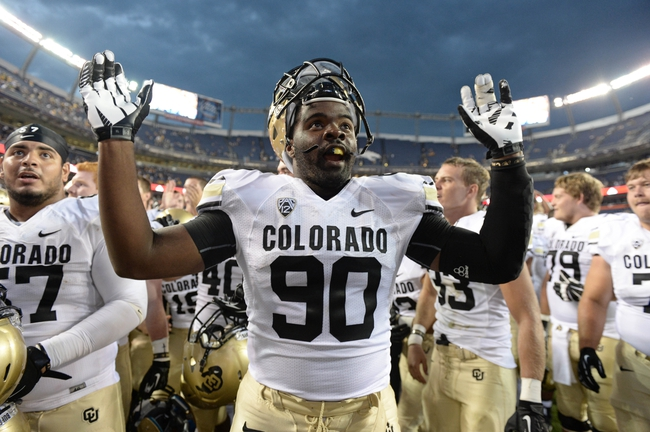 Sep 1, 2013; Denver, CO, USA; Colorado Buffaloes defensive lineman De'Jon Wilson (90) reacts following the win over the Colorado State Rams at Sports Authority Field at Mile High. The Buffaloes defeated the Rams 41-27. Mandatory Credit: Ron Chenoy-USA TODAY Sports