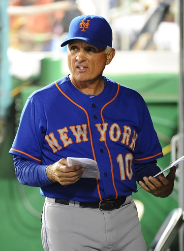Sep 1, 2013; Washington, DC, USA; New York Mets manager Terry Collins (10) in the dugout during the sixth inning against the Washington Nationals at Nationals Park.  Mandatory Credit: Brad Mills-USA TODAY Sports