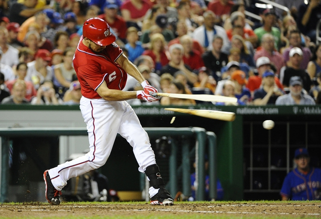 Sep 1, 2013; Washington, DC, USA; Washington Nationals second baseman Anthony Rendon (6) hits a broken bat single during the fifth inning against the New York Mets at Nationals Park. Mandatory Credit: Brad Mills-USA TODAY Sports