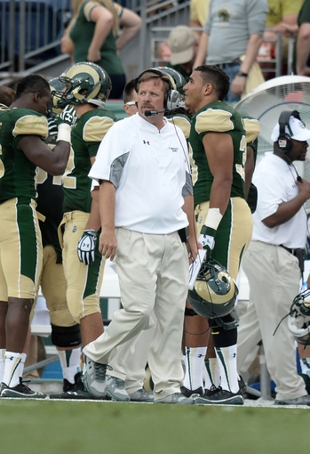 Sep 1, 2013; Denver, CO, USA; Colorado State Rams head coach Jim McElwain on his sidelines during the game against the Colorado Buffaloes in the fourth quarter at Sports Authority Field at Mile High. The Buffaloes defeated the Rams 41-27. Mandatory Credit: Ron Chenoy-USA TODAY Sports