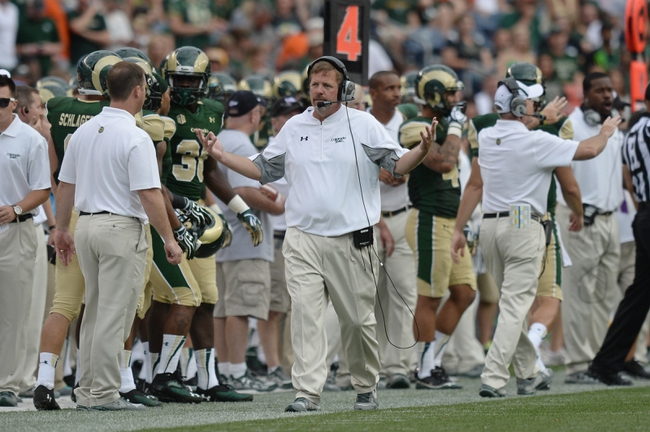 Sep 1, 2013; Denver, CO, USA; Colorado State Rams head coach Jim McElwain reacts on his sidelines during the game against the Colorado Buffaloes in the fourth quarter at Sports Authority Field at Mile High. The Buffaloes defeated the Rams 41-27. Mandatory Credit: Ron Chenoy-USA TODAY Sports