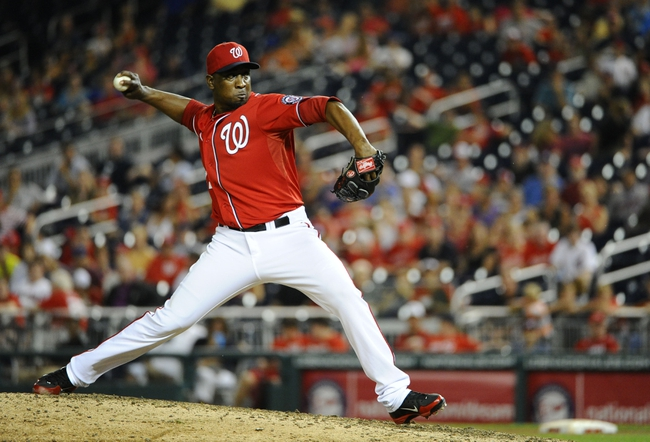 Sep 1, 2013; Washington, DC, USA; Washington Nationals relief pitcher Rafael Soriano (29)  throws during the ninth inning against the New York Mets at Nationals Park. Mandatory Credit: Brad Mills-USA TODAY Sports