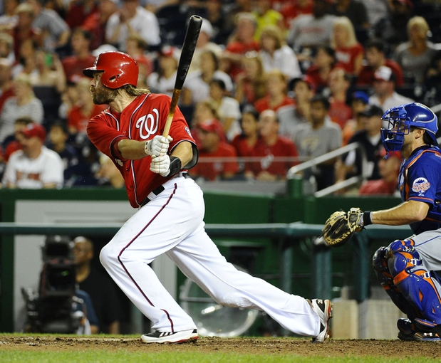 Sep 1, 2013; Washington, DC, USA; Washington Nationals right fielder Jayson Werth (28) hits an RBI double during the eighth inning against the New York Mets at Nationals Park. Mandatory Credit: Brad Mills-USA TODAY Sports