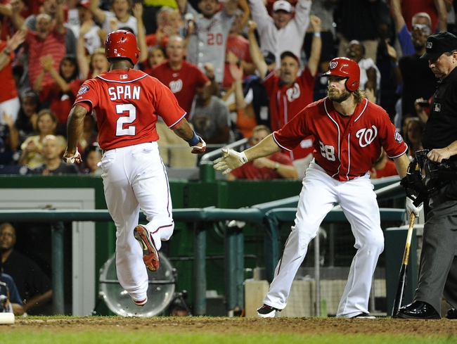 Sep 1, 2013; Washington, DC, USA; Washington Nationals center fielder Denard Span (2) is congratulated by Washington Nationals right fielder Jayson Werth (28) after scoring a run during the eighth inning against the New York Mets at Nationals Park. Mandatory Credit: Brad Mills-USA TODAY Sports