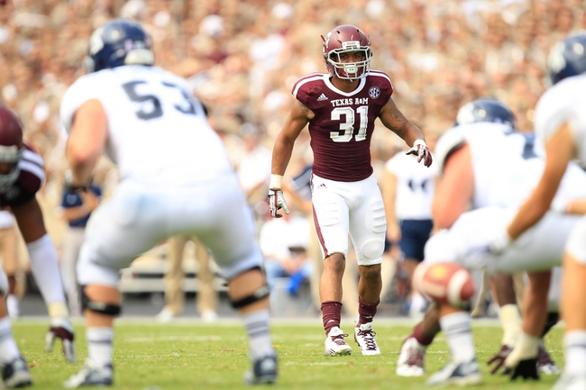 Aug 31, 2013; College Station, TX, USA; Texas A&M Aggies defensive back Howard Matthews (31) sets up against the Rice Owls during the second half at Kyle Field. Texas A&M won 52-31. Mandatory Credit: Thomas Campbell-USA TODAY Sports