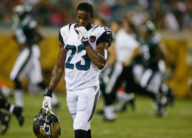 Aug 24, 2013; Jacksonville, FL, USA; Jacksonville Jaguars cornerback Alan Ball (23) walks off the field at the end of the first half of their game against the Philadelphia Eagles at EverBank Field. The Philadelphia Eagles beat the Jacksonville Jaguars 31-24. Mandatory Credit: Phil Sears-USA TODAY Sports
