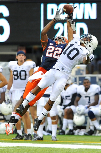 Aug 31, 2013; East Rutherford, NJ, USA; Penn State Nittany Lions cornerback Trevor Williams (10) breaks up a pass intended for Syracuse Orange wide receiver Adrian Flemming (22) during the third quarter at MetLife Stadium.  Penn State defeated Syracuse 23-17.  Mandatory Credit: Rich Barnes-USA TODAY Sports