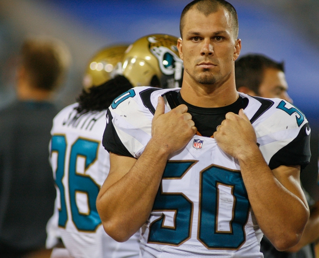 Aug 24, 2013; Jacksonville, FL, USA; Jacksonville Jaguars linebacker Russell Allen (50) in the fourth quarter of their game against the Philadelphia Eagles at EverBank Field. The Philadelphia Eagles beat the Jacksonville Jaguars 31-24. Mandatory Credit: Phil Sears-USA TODAY Sports