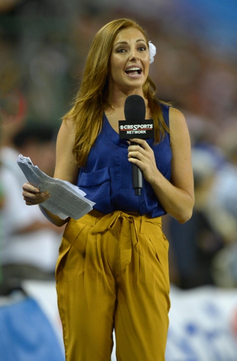 Aug 29, 2013; Honolulu, HI, USA; CBS Sports sideline reporter Lauren Gardner during the NCAA football game between the Southern California Trojans and the Hawaii Rainbow Warriors at Aloha Stadium. USC defeated Hawaii 30-13. Mandatory Credit: Kirby Lee-USA TODAY Sports