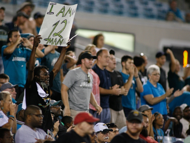 Aug 24, 2013; Jacksonville, FL, USA; Jacksonville Jaguars fans cheer for their team in the fourth quarter of their game against the Philadelphia Eagles at EverBank Field. The Philadelphia Eagles beat the Jacksonville Jaguars 31-24. Mandatory Credit: Phil Sears-USA TODAY Sports