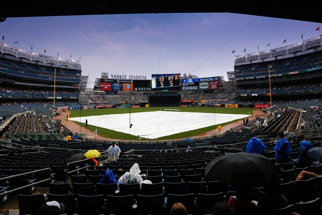 Sep 2, 2013; Bronx, NY, USA;  General view of the tarp covered field during a rain delay between the Chicago White Sox and the New York Yankees at Yankee Stadium. Mandatory Credit: Anthony Gruppuso-USA TODAY Sports
