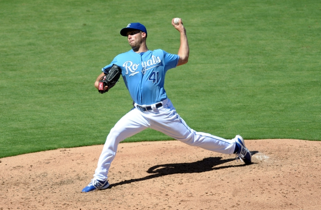 Sep 2, 2013; Kansas City, MO, USA; Kansas City Royals starting pitcher Danny Duffy (41) delivers a pitch in the fourth inning of the game against the Seattle Mariners at Kauffman Stadium. Mandatory Credit: Denny Medley-USA TODAY Sports