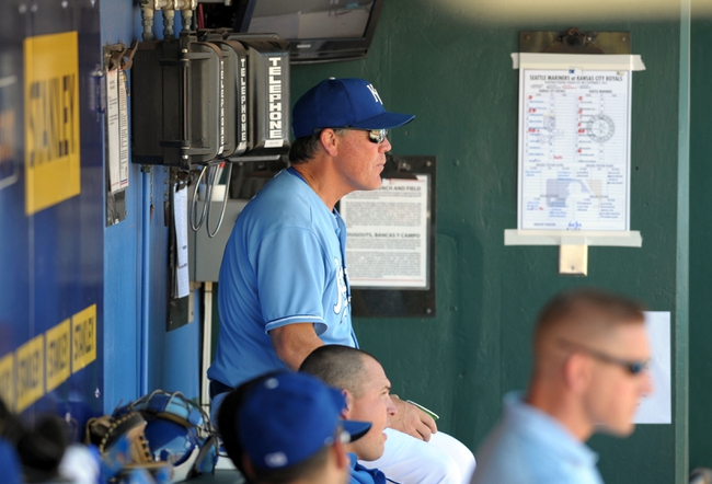 Sep 2, 2013; Kansas City, MO, USA; Kansas City Royals manager Ned Yost (3) watches play from the dugout during the seventh inning of the game against the Seattle Mariners at Kauffman Stadium. Mandatory Credit: Denny Medley-USA TODAY Sports