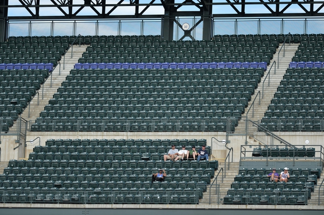 Sept 2, 2013; Denver, CO, USA; General view of fans in the upper deck of Coors Field during the game between the Los Angeles Dodgers against the Colorado Rockies. The Dodgers defeated the Rockies 10-8. Mandatory Credit: Ron Chenoy-USA TODAY Sports