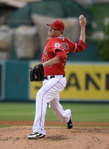 Sep 1, 2013; Anaheim, CA, USA; Los Angeles Angels starter Garrett Richards (43) delivers a pitch against the Tampa Bay Rays at Angel Stadium. Mandatory Credit: Kirby Lee-USA TODAY Sports
