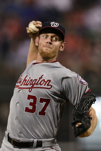 Sep 2, 2013; Philadelphia, PA, USA; Washington Nationals pitcher Stephen Strasburg (37) delivers to the plate during the second inning against the Philadelphia Phillies at Citizens Bank Park. The Phillies defeated the Nationals 3-2. Mandatory Credit: Howard Smith-USA TODAY Sports