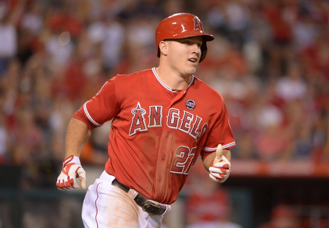 Sep 2, 2013; Anaheim, CA, USA; Los Angeles Angels left fielder Mike Trout (27) rounds the bases against the Tampa Bay Rays at Angel Stadium. Mandatory Credit: Kirby Lee-USA TODAY Sports