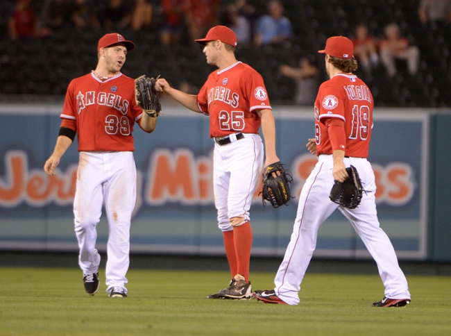 Sep 2, 2013; Anaheim, CA, USA; Los Angeles Angels outfielders J.B. Shuck (39), Peter Bourjos (25) and Collin Cowgill (19) react at the end of the game against the Tampa Bay Rays at Angel Stadium. The Angels defeated the Rays 11-2. Mandatory Credit: Kirby Lee-USA TODAY Sports