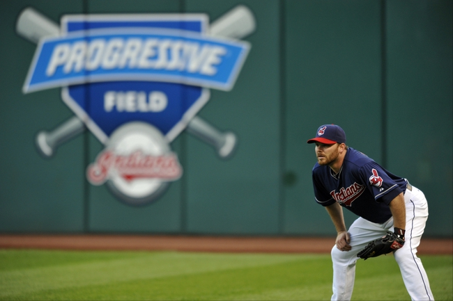 Sep 3, 2013; Cleveland, OH, USA; Cleveland Indians right fielder Jason Kubel (12) during a game against the Baltimore Orioles at Progressive Field. Mandatory Credit: David Richard-USA TODAY Sports
