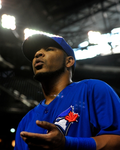 Sept 3, 2013; Phoenix, AZ, USA; Toronto Blue Jays first baseman Edwin Encarnacion (10) looks on prior to the game against the Arizona Diamondbacks at Chase Field. Mandatory Credit: Matt Kartozian-USA TODAY Sports