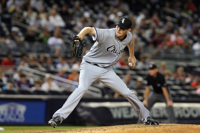Sep 3, 2013; Bronx, NY, USA; Chicago White Sox starting pitcher Chris Sale (49) pitches against the New York Yankees during the eighth inning of a game at Yankee Stadium. Mandatory Credit: Brad Penner-USA TODAY Sports