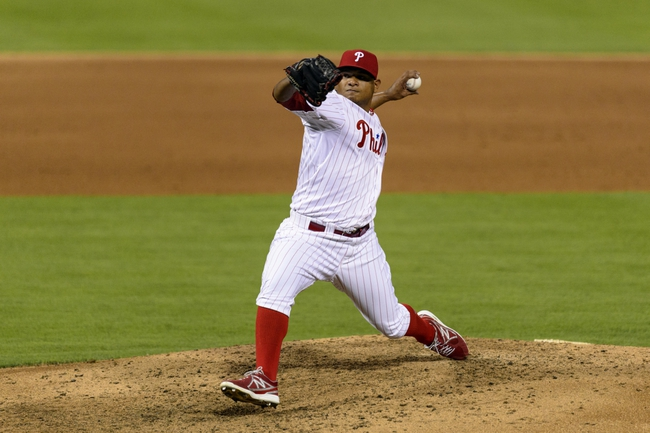 Sep 3, 2013; Philadelphia, PA, USA; Philadelphia Phillies pitcher Mauricio Robles (67) delivers to the plate during the sixth inning against the Washington Nationals at Citizens Bank Park. The Nationals defeated the Phillies 9-6. Mandatory Credit: Howard Smith-USA TODAY Sports