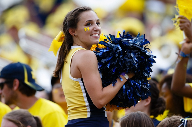 Aug 31, 2013; Ann Arbor, MI, USA; Michigan Wolverines cheerleader during the fourth quarter  of the game between the Michigan Wolverines and the Central Michigan Chippewas at Michigan Stadium. Mandatory Credit: Rick Osentoski-USA TODAY Sports