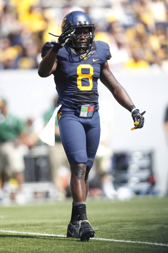 Aug 31, 2013; Morgantown, WV, USA; West Virginia Mountaineers safety Karl Joseph (8) on the field against the William & Mary Tribe during the fourth quarter at Milan Puskar Stadium. The West Virginia Mountaineers won 24-17. Mandatory Credit: Charles LeClaire-USA TODAY Sports