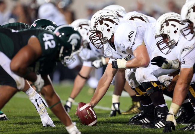 Aug 30, 2013; East Lansing, MI, USA; Western Michigan Broncos offensive linesman Jon Hoffing (71) prepares to snap the ball during 2nd  half of a game at Spartan Stadium. MSU won 26-13.   Mandatory Credit: Mike Carter-USA TODAY Sports