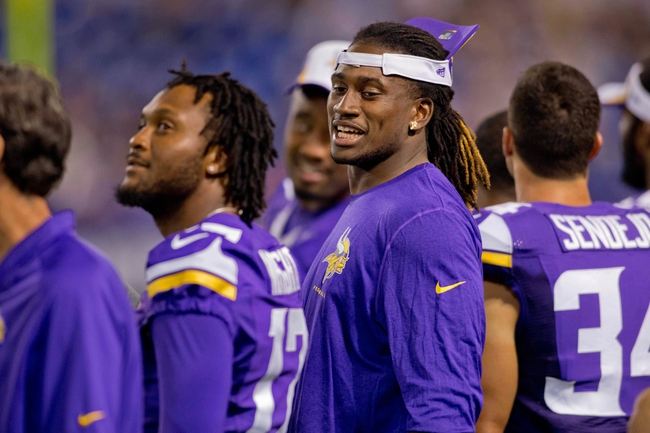 Aug 29, 2013; Minneapolis, MN, USA; Minnesota Vikings wide receiver Cordarrelle Patterson (84) talks along the sidelines in the game with the Tennessee Titans at Mall of America Field at H.H.H. Metrodome. Vikings win 24-23. Mandatory Credit: Bruce Kluckhohn-USA TODAY Sports