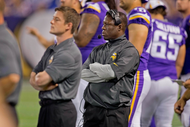 Aug 29, 2013; Minneapolis, MN, USA; Minnesota Vikings defensive coordinator Alan Williams watches as his team plays the Tennessee Titans at Mall of America Field at H.H.H. Metrodome. Vikings win 24-23. Mandatory Credit: Bruce Kluckhohn-USA TODAY Sports