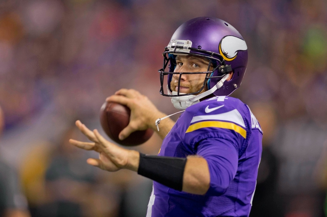 Aug 29, 2013; Minneapolis, MN, USA; Minnesota Vikings quarterback McLeod Bethel-Thompson (4) warms up along the sidelines in the game with the Tennessee Titans at Mall of America Field at H.H.H. Metrodome. Vikings win 24-23. Mandatory Credit: Bruce Kluckhohn-USA TODAY Sports