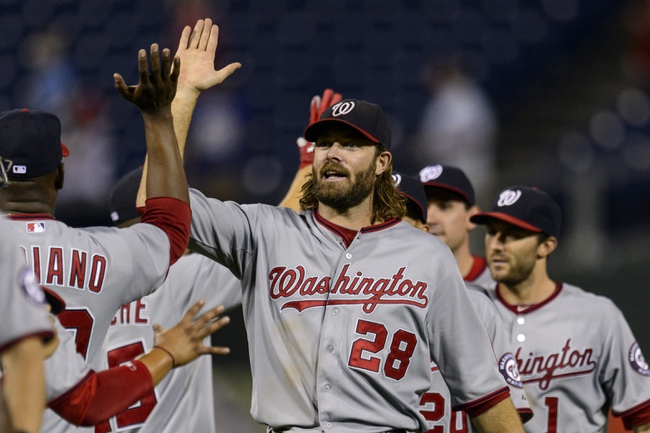 Sep 4, 2013; Philadelphia, PA, USA; Washington Nationals right fielder Jayson Werth (28) celebrates with pitcher Rafael Soriano (29) after defeating the Philadelphia Phillies at Citizens Bank Park. The Nationals defeated the Phillies 3-2. Mandatory Credit: Howard Smith-USA TODAY Sports