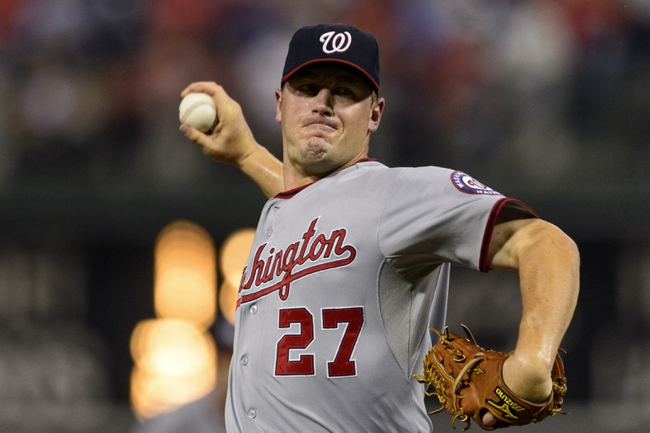 Sep 4, 2013; Philadelphia, PA, USA; Washington Nationals pitcher Jordan Zimmermann (27) delivers to the plate during the second inning against the Philadelphia Phillies at Citizens Bank Park. The Nationals defeated the Phillies 3-2. Mandatory Credit: Howard Smith-USA TODAY Sports