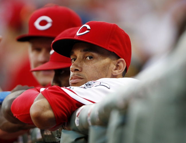 Sep 5, 2013; Cincinnati, OH, USA; Cincinnati Reds center fielder Billy Hamilton (6) in the dug out during the first inning against the St. Louis Cardinals at Great American Ball Park. Mandatory Credit: Frank Victores-USA TODAY Sports