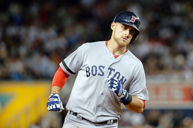 Sep 5, 2013; Bronx, NY, USA;  Boston Red Sox third baseman Will Middlebrooks (16) rounds the bases on his home run during the fourth inning against the New York Yankees at Yankee Stadium. Mandatory Credit: Anthony Gruppuso-USA TODAY Sports