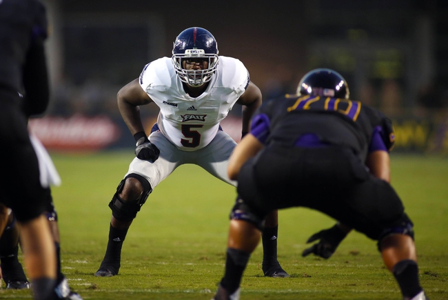 September 5, 2013; Greenville, NC, USA;  Florida Atlantic defensive linemen Martin Wright (5) looks on against East Carolina at Dowdy-Ficklen Stadium. East Carolina Pirates defeated the Florida Atlantic Owls 31-13. Mandatory Credit: James Guillory-USA TODAY Sports