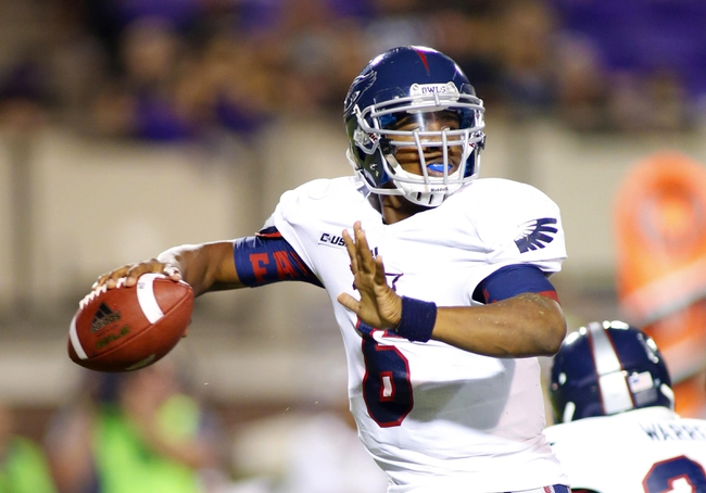 September 5, 2013; Greenville, NC, USA;  Florida Atlantic quarterback Greg Hankerson (6) throws the ball against East Carolina at Dowdy-Ficklen Stadium. East Carolina Pirates defeated the Florida Atlantic Owls 31-13. Mandatory Credit: James Guillory-USA TODAY Sports