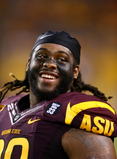 Sep 5, 2013; Tempe, AZ, USA; Arizona State Sun Devils defensive tackle Will Sutton on the sidelines in the second half against the Sacramento State Hornets at Sun Devil Stadium. Mandatory Credit: Mark J. Rebilas-USA TODAY Sports