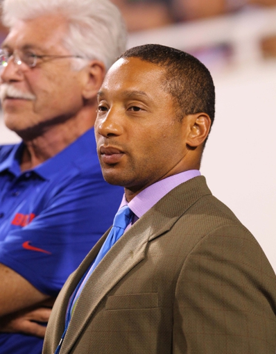 Aug 29, 2013; Orchard Park, NY, USA; Buffalo Bills general manager Doug Whaley watches during a game against the Detroit Lions at Ralph Wilson Stadium.  Lions defeat the Bills 35 to 13.  Mandatory Credit: Timothy T. Ludwig-USA TODAY Sports