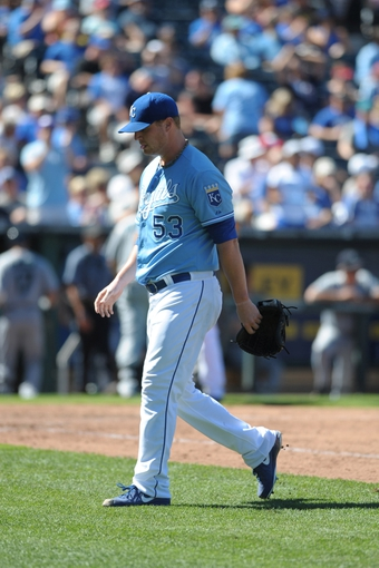 Sep 2, 2013; Kansas City, MO, USA; Kansas City Royals relief pitcher Will Smith (53) walks to the dugout in between innings of the game against the Seattle Mariners at Kauffman Stadium. The Royals won 3-1. Mandatory Credit: Denny Medley-USA TODAY Sports