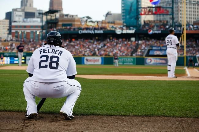 Aug 30, 2013; Detroit, MI, USA; Detroit Tigers first baseman Prince Fielder (28) waits to bat against the Cleveland Indians at Comerica Park. Mandatory Credit: Rick Osentoski-USA TODAY Sports