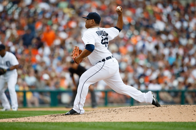 Sep 1, 2013; Detroit, MI, USA; Detroit Tigers relief pitcher Bruce Rondon (43) pitches against the Cleveland Indians at Comerica Park. Mandatory Credit: Rick Osentoski-USA TODAY Sports