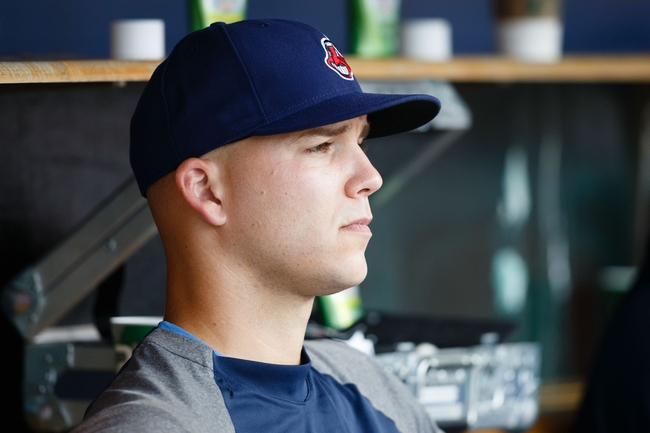 Sep 1, 2013; Detroit, MI, USA; Cleveland Indians starting pitcher Justin Masterson (63) sits in dugout against the Detroit Tigers at Comerica Park. Mandatory Credit: Rick Osentoski-USA TODAY Sports